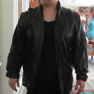 mens black leather jacket 38
